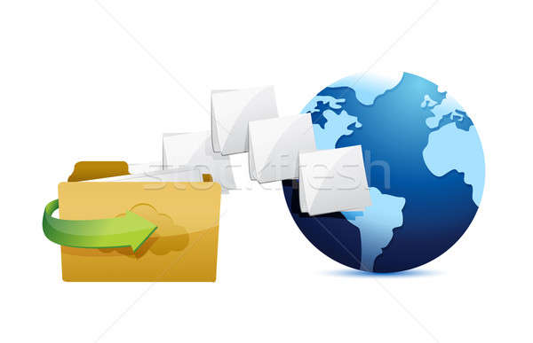 Folder connected to the web. folder and globe Stock photo © alexmillos
