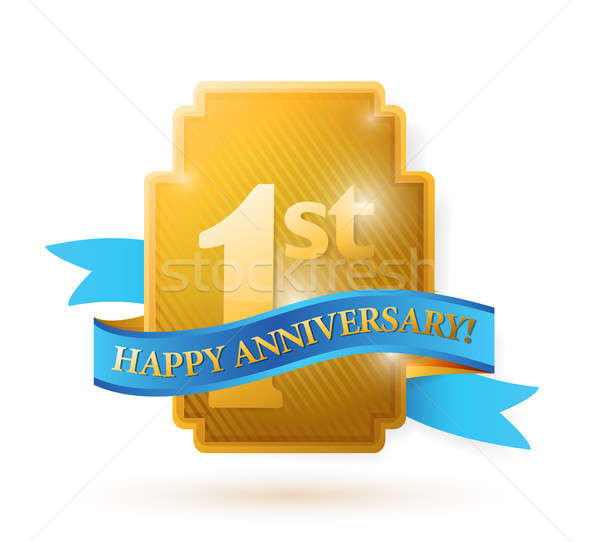 first years anniversary shield. illustration design over white Stock photo © alexmillos