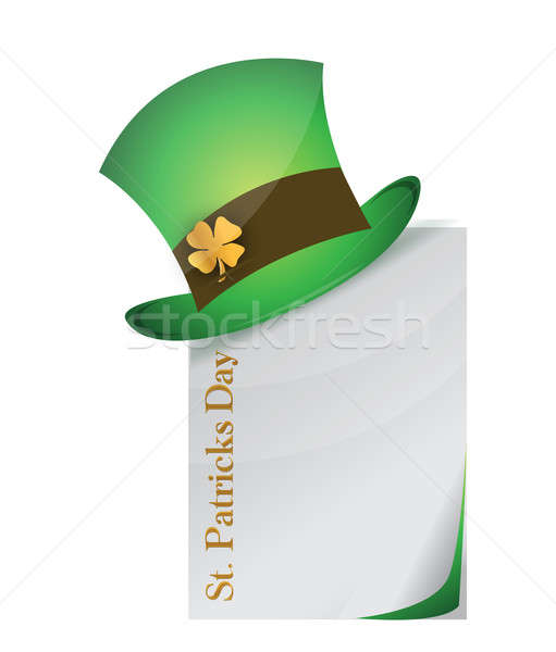 page and St. Patrick's Day hat with clover illustration design Stock photo © alexmillos