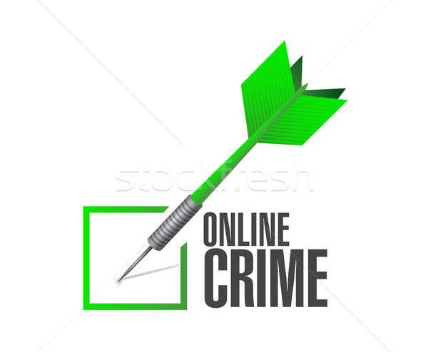 Online bűnözés csekk darts felirat illusztráció Stock fotó © alexmillos