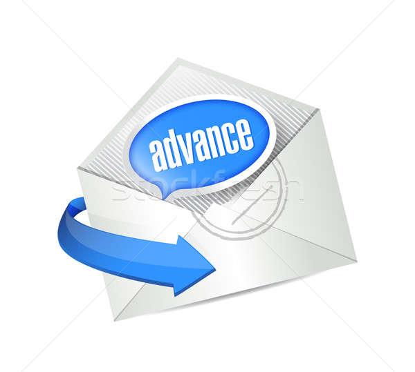 Cloud computing advance mail illustration Stock photo © alexmillos