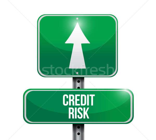Сток-фото: кредитных · риск · дорожный · знак · иллюстрация · дизайна · белый