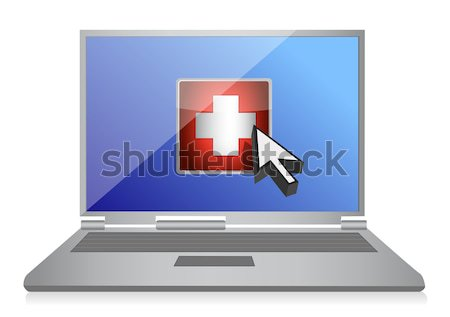 A band aid is fixing a damaged laptop. Stock photo © alexmillos