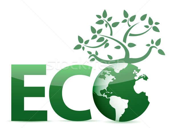 word Eco globe and tree illustration design Stock photo © alexmillos
