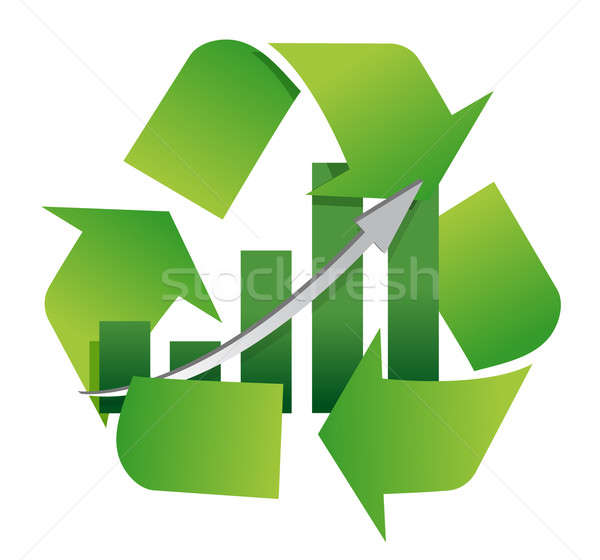 recycling symbol with a bar chart in center illustration design Stock photo © alexmillos