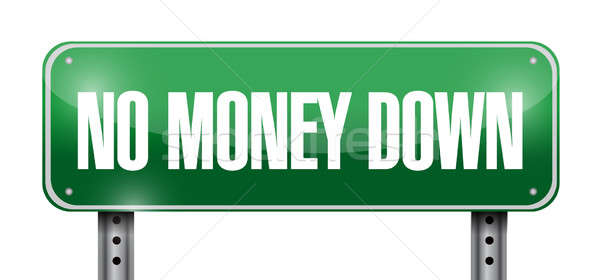 no money down road sign illustration design over a white backgro Stock photo © alexmillos