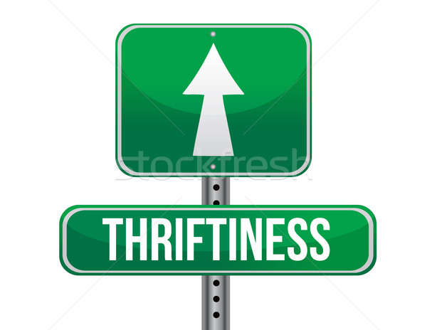 thriftiness road sign illustration design over a white backgroun Stock photo © alexmillos