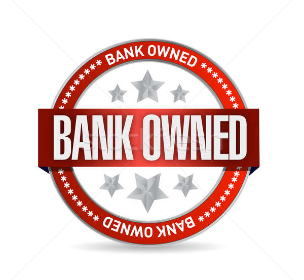 Stock photo: bank owned seal stamp illustration design over a white backgroun
