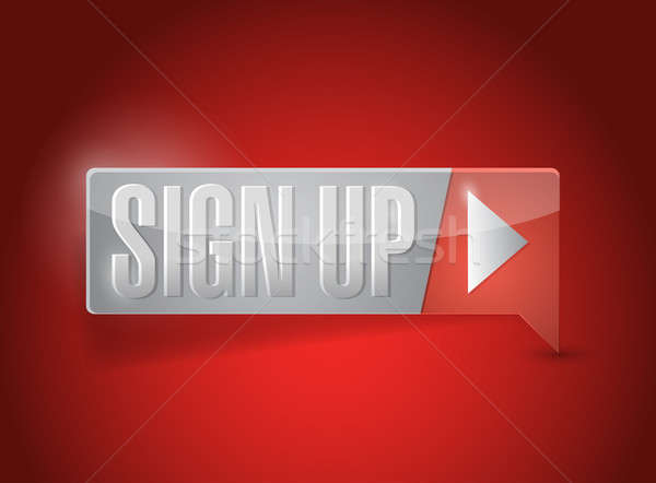 sign up now button illustration design over red Stock photo © alexmillos