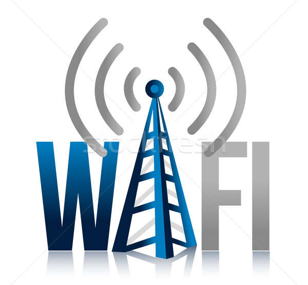 Wi fi Tower illustration design sign over white Stock photo © alexmillos