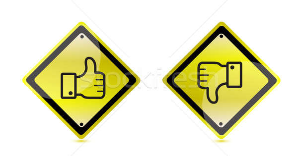 thumbs up and down warning sign illustration design Stock photo © alexmillos