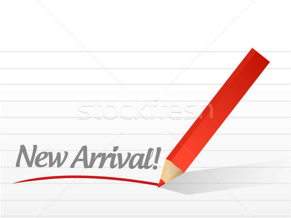 new arrival written on a white paper. illustration design notepa Stock photo © alexmillos