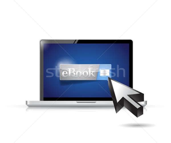 E-kitap dizüstü bilgisayar örnek dizayn beyaz kitap Stok fotoğraf © alexmillos
