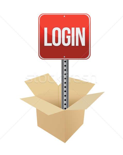 Login assinar ilustração projeto branco caixa Foto stock © alexmillos