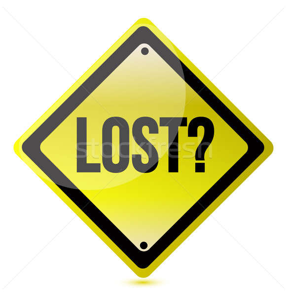 Stock photo: Yellow lost sign illustration design over white