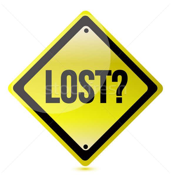 Yellow lost sign illustration design over white Stock photo © alexmillos