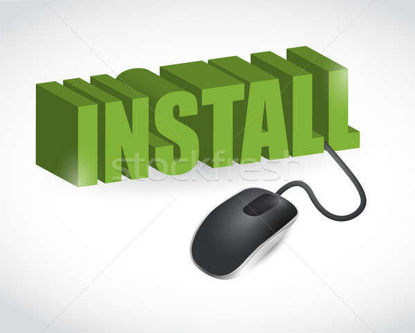 install sign and mouse illustration design over white Stock photo © alexmillos