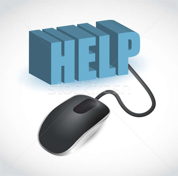 Stock photo: help and computer mouse illustration design over white