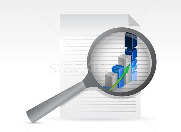 business graph on paper shit under magnifying glass illustration Stock photo © alexmillos