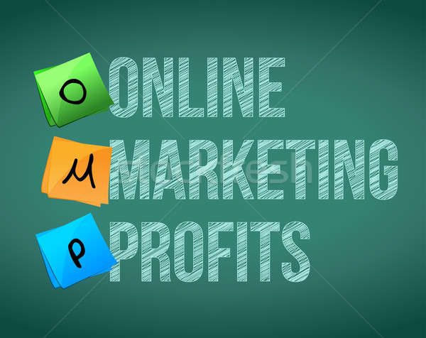 online marketing profits and posts on a blackboard Stock photo © alexmillos