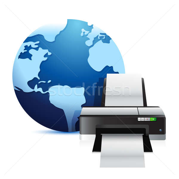 printer and a international globe illustration over a white back Stock photo © alexmillos