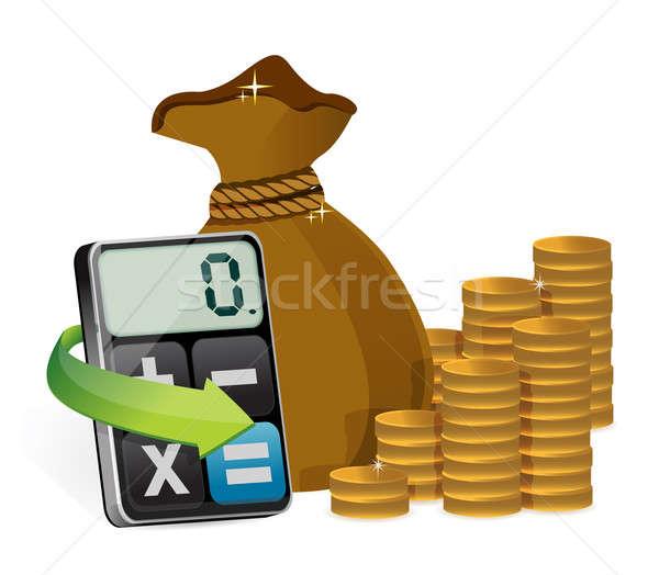Pénz táska modern számológép iroda tudomány Stock fotó © alexmillos