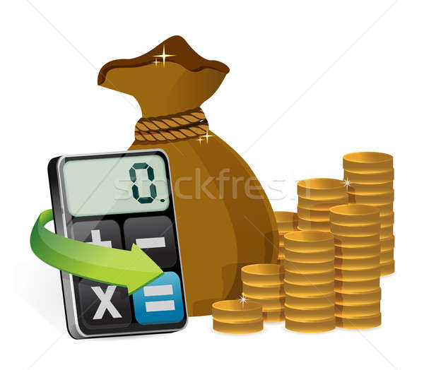 Money bag and modern calculator  Stock photo © alexmillos