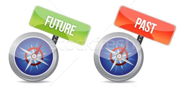 Múlt jövő fényes iránytű illusztráció terv Stock fotó © alexmillos