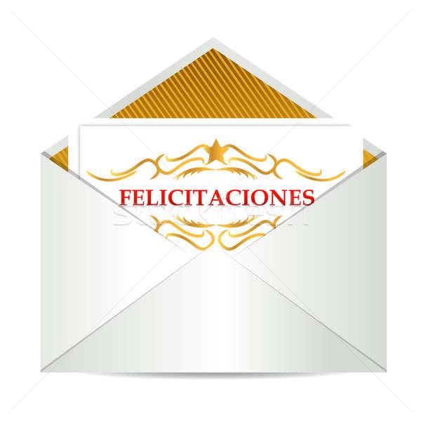 Parabéns assinar dentro envelope e-mail ouro Foto stock © alexmillos