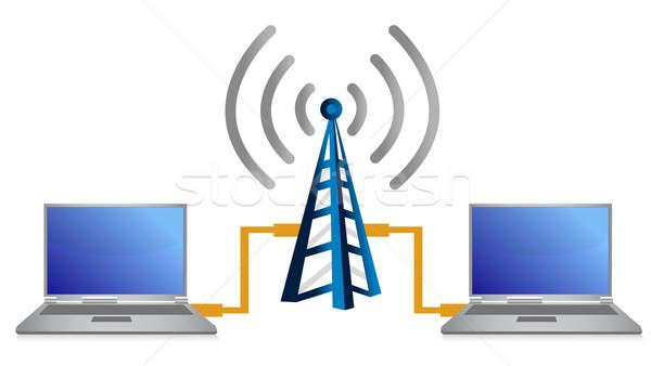 Wifi laptop kapcsolat illusztráció számítógép földgömb Stock fotó © alexmillos