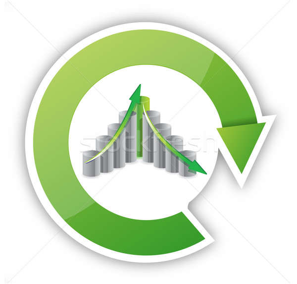 up and down business cycle illustration design over white Stock photo © alexmillos