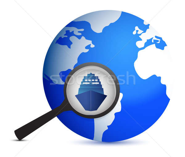Icon with ship and magnifier with planet  Stock photo © alexmillos