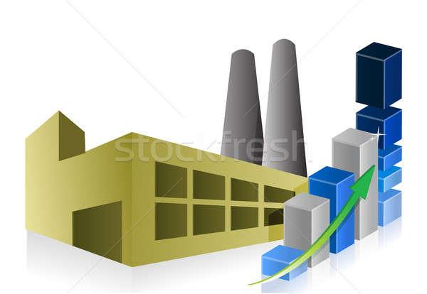 Graphe d'affaires usine centrale bâtiment fond fumée Photo stock © alexmillos