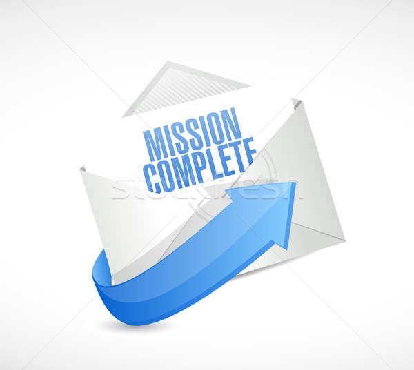 Missie compleet mail teken illustratie ontwerp Stockfoto © alexmillos
