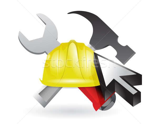 cursor and under construction sign Stock photo © alexmillos