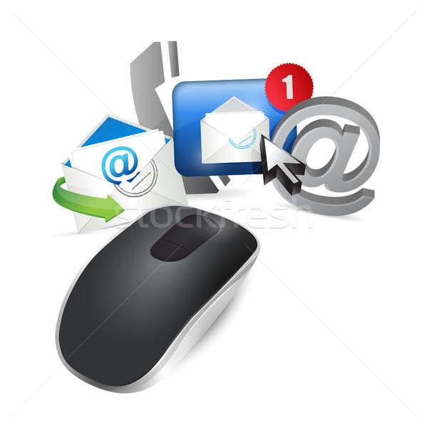 Kablosuz bilgisayar fare yalıtılmış beyaz bilgisayar Stok fotoğraf © alexmillos
