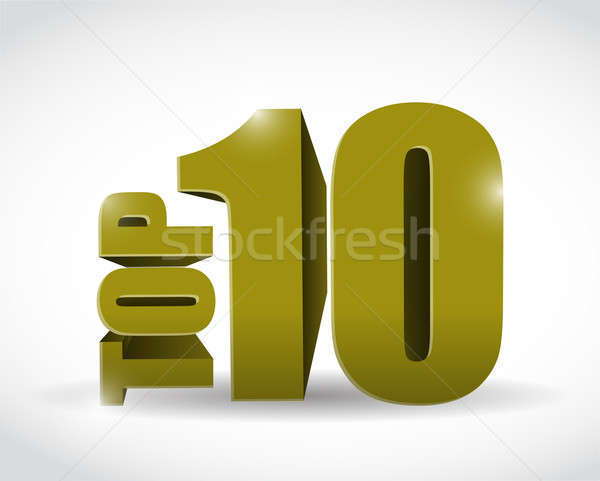 gold top ten sign illustration design Stock photo © alexmillos