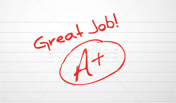 Stock photo: Good work paper grading in red ink