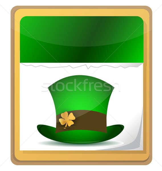 Calendar with irish hat. St. Patrick's day icon. Stock photo © alexmillos