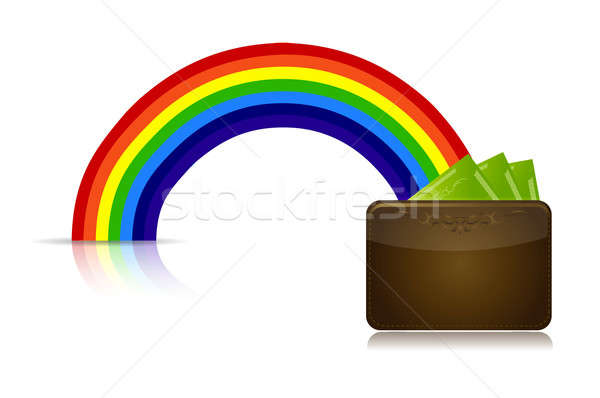 wallet at the end of a rainbow illustration design Stock photo © alexmillos