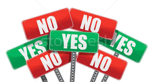 Stock photo: yes and no signs illustration design
