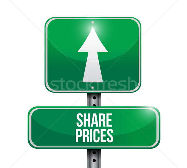 shared prices road sign illustration design over white Stock photo © alexmillos