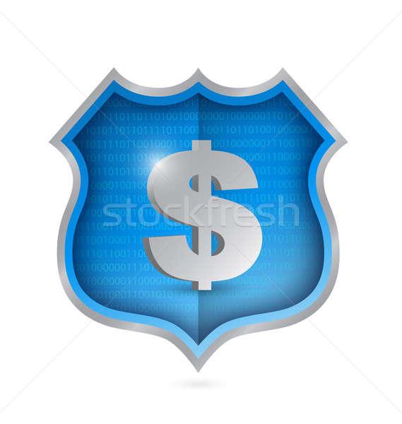 dollar security shield illustration design over white Stock photo © alexmillos