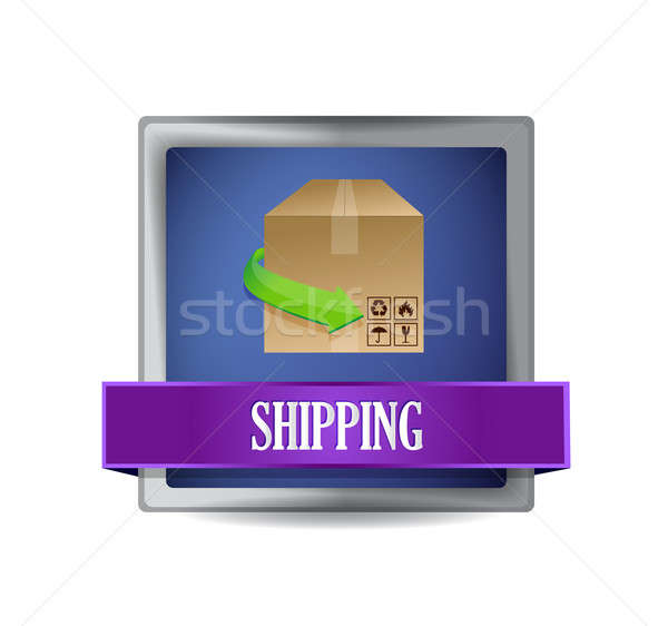 shipping concept button illustration design over white Stock photo © alexmillos