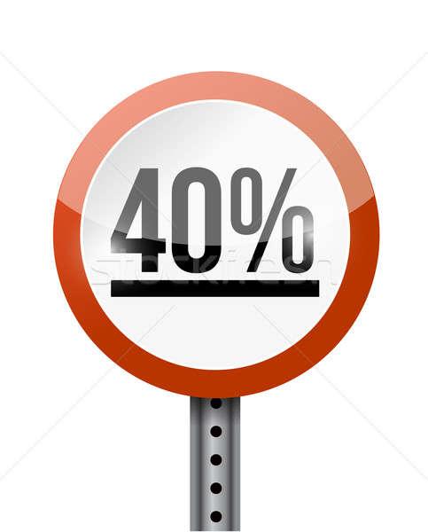40 százalék jelzőtábla illusztráció terv fehér Stock fotó © alexmillos