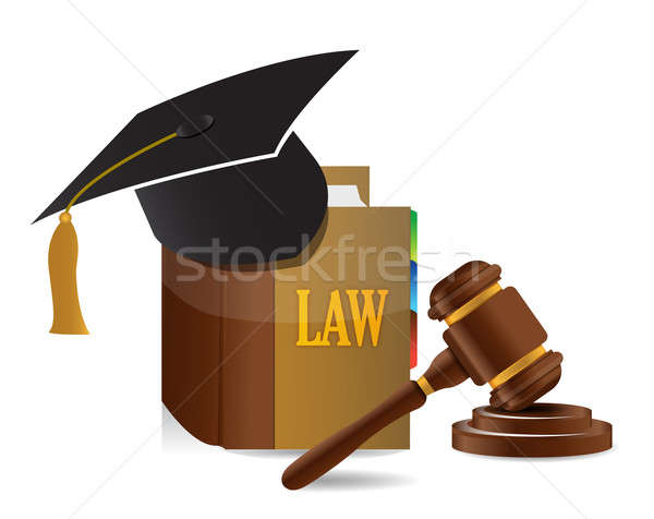 education Judge lawsuit hammer on law book illustration design o Stock photo © alexmillos