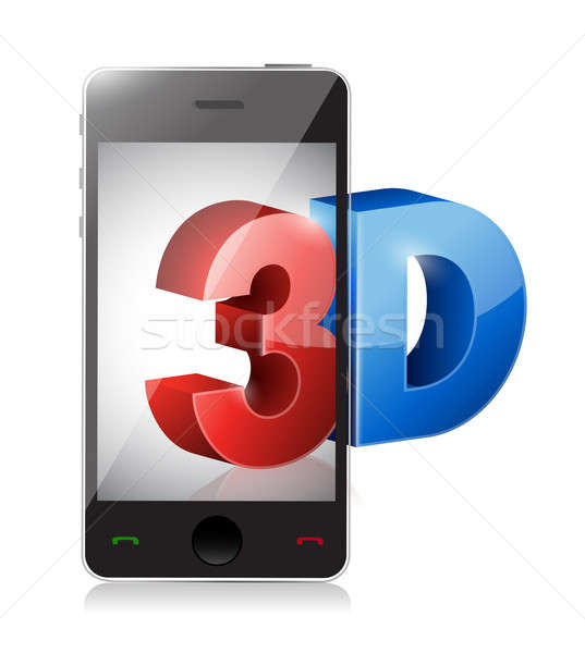 phone with a 3d screen. Illustration design over white Stock photo © alexmillos