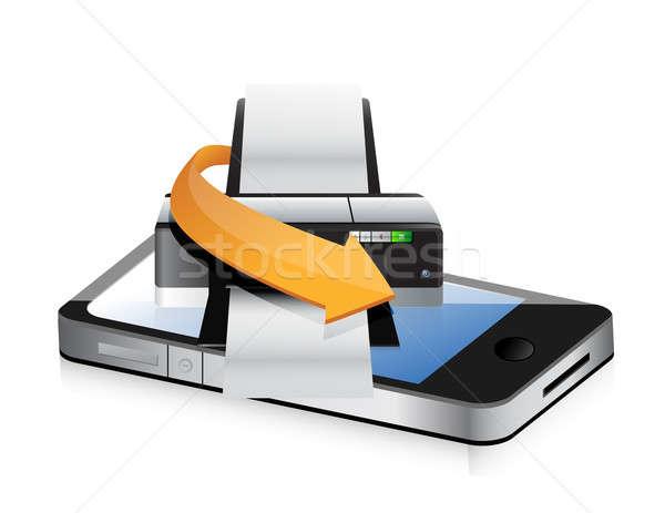Imprimante téléphone app illustration design blanche Photo stock © alexmillos