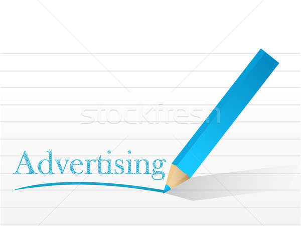 Word advertising written on a notepad paper Stock photo © alexmillos