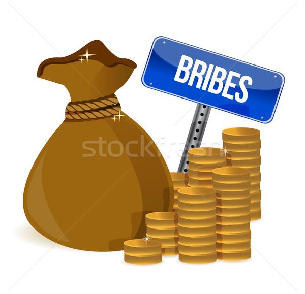 Arany érmék pénz táska üzlet háttér pénzügy Stock fotó © alexmillos